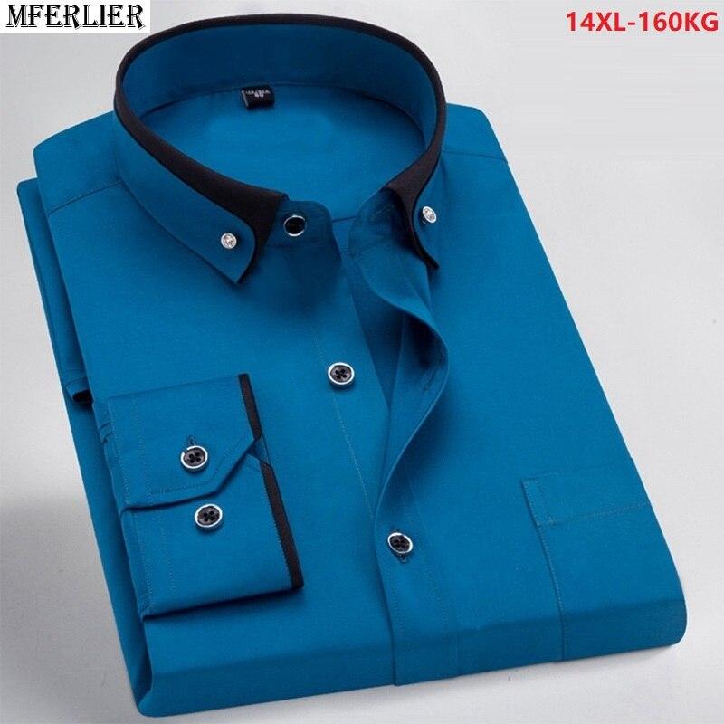 men dress shirt formal long sleeve large size big 7XL 8XL patchwork wedding
