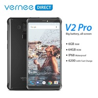 Global Version Vernee V2 Pro IP68 Waterproof Rugged Mobile Phone Android 8.1 6GB RAM 64GB ROM NFC Cell Phone 6.0 Inch 6200mAh