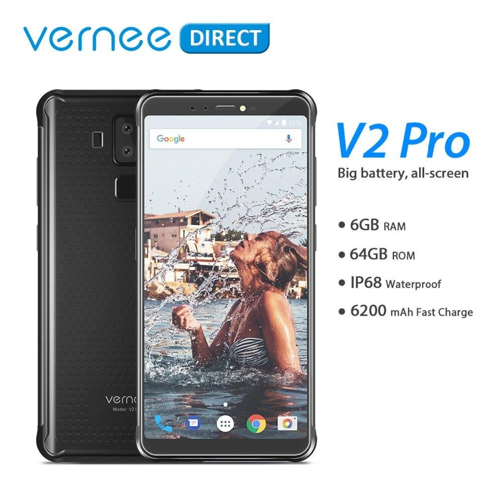 Version mondiale Vernee V2 Pro IP68 étanche téléphone Mobile robuste Android 8.1 6 GB RAM 64 GB ROM NFC téléphone portable 6.0 pouces 6200 mAh