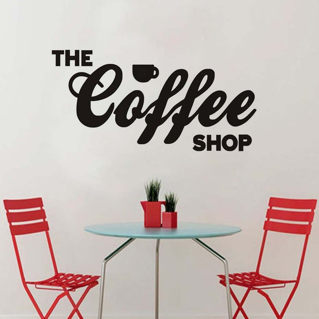 Wall Sticker Adhesive Letters The Coffee Shop Bar Window Glass - Vinyl wall decal adhesive
