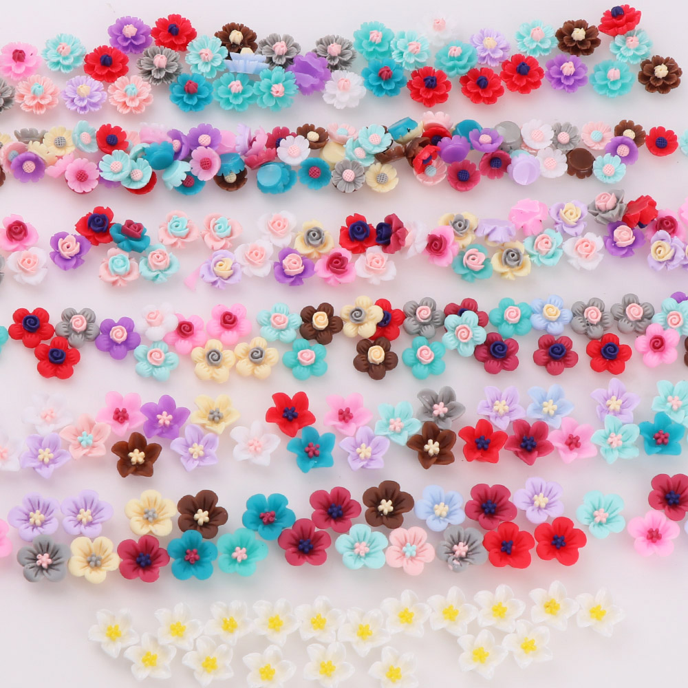 Mix Style 50pcs 3D Colorful  Resin Flower Resin Flat Back Cabochon Resin Butterfly Knot For Phone DIY Decoration Or DIY Resin