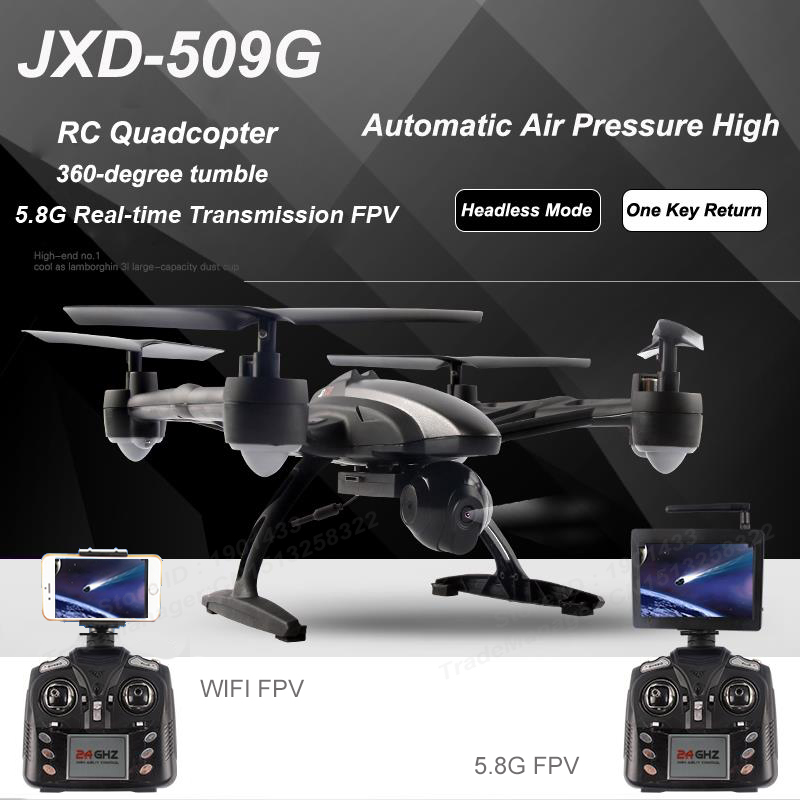 WIFI FPV 5.8G Real Time FPV RC Helicopter High Hold Mode One Key Return RC Quadcopter 2.4GHz Drone with WIF Camera JXD 509W 509G 2016 newest 2 4g 4ch 6 axis gyro wifi fpv camera rtf rc quadcopter with one key return cf mode 3d flip high hold mode rc drone