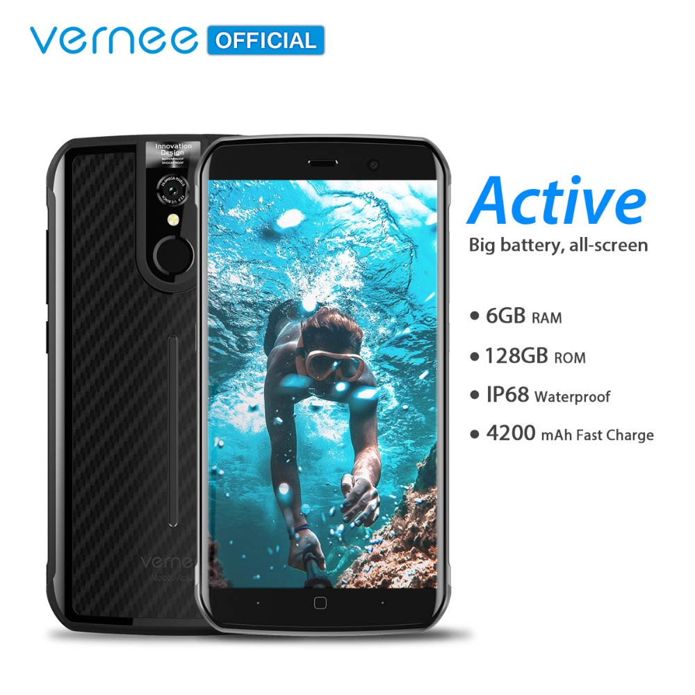 Mondial Version Vernee Active IP68 Étanche Robuste Smartphone Helio P25 6 gb 128 gb 5.5 FHD 13MP NFC 4g Android 7.0 Mobile Téléphone