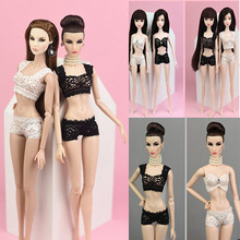 1 Set New Sexy Pajamas Lingerie Lace Costumes Bra Clothes For Doll Clothes Accessories Girl Toy(China)