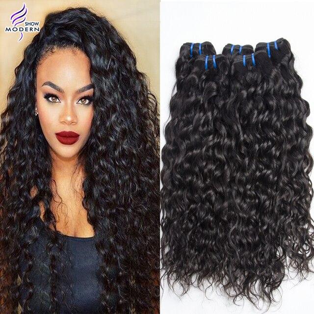 Modern Show Brazilian Virgin Hair Water Wave Unprocessed Wet And Wavy 4 Bundles