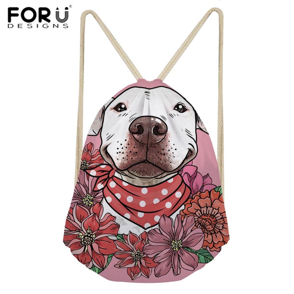 FORUDESIGNS Women Drawstring Bag Bull Terrier Printing Drawstring Backpack For Teenager Girls Kids School Backpacks Beach Bolsa