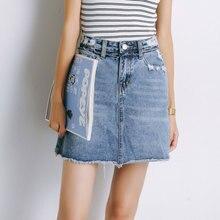 DENEGY Nyári divatos magas derék Szoknyák Női zsebbugéti gomb Denim szoknya Nő 2018 Navy kék Mini A-Line Casual Jeans szoknya