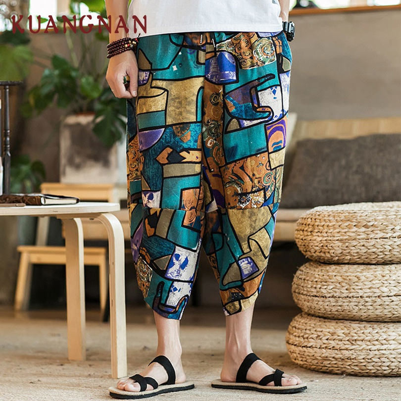 KUANGNAN Pants Men Trousers Cotton Linen Chinese-Style Hip-Hop Ankle-Length