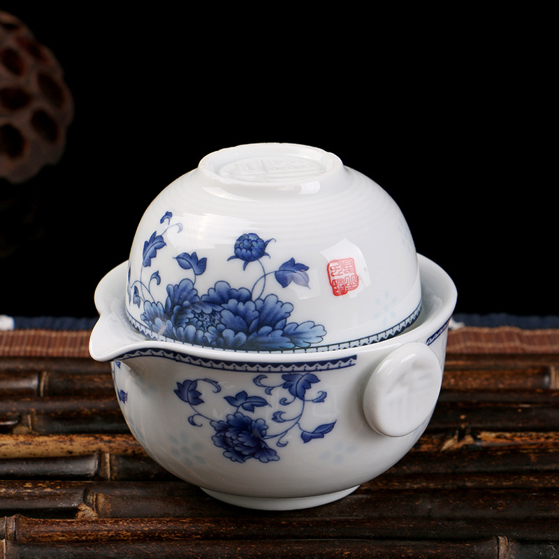 Set Include 1 Pot 1 Cup Elegant Gaiwan Beautiful And Easy Teapot Kettle Blue And White Porcelain Teapot