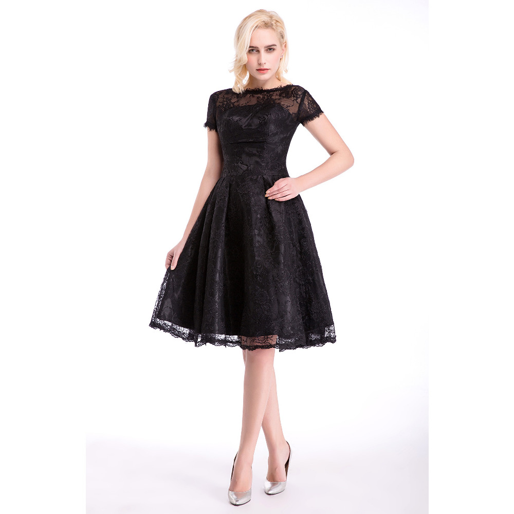 Black Lace Backless Short Cocktail Dresses