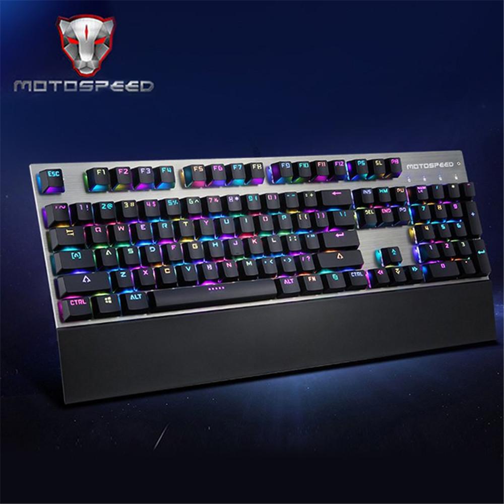 Prix pour D'origine motospeed ck108 104 mécanique clés usb filaire clavier de jeu professionnel avec 18 rétro-éclairage mode pour de bureau pour pc