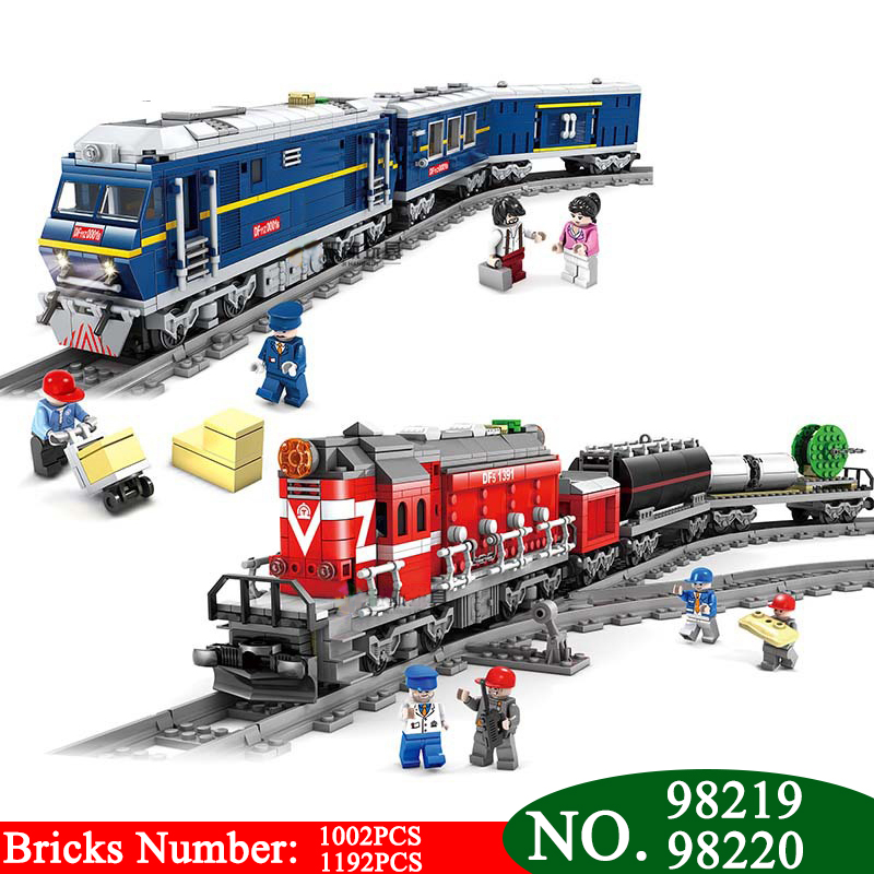 98219 98220 NEW City Series model the Cargo Set Building Train Train track Blocks Bricks Train Educational Toys For Children