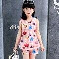 2016 лето девушки цветок комплект одежды, малыша девушки жилет большие дети радуга dot dress Лук Принцесса одежда 3-10 Т