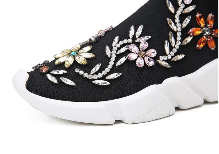 Schoenen Date 2018 Femmes Vrouw Strass Couleurs Hiver Chaussures Appartements Bottes Cheville Fleur Luxe Automne Piste De Mélangées SrZSw4