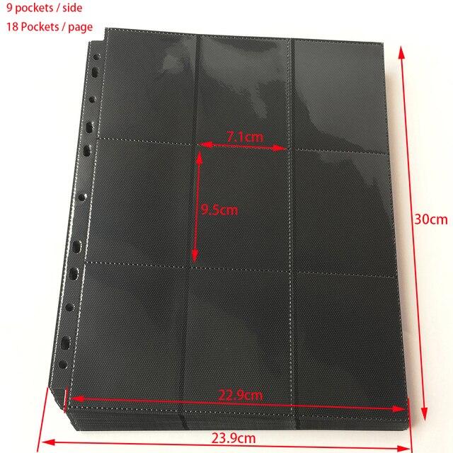 10 páginas, 180 bolsillos, carga lateral Página de álbum de tarjetas de Color negro/Protector de carpeta Mtg TCG Pokemon yu-gi-oh páginas de carpeta de tarjetas