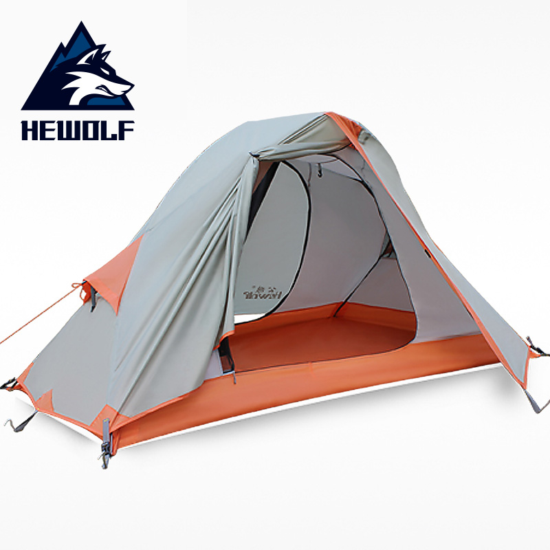 Hewolf outdoor tent double layer aluminum pole professional camping riot rain camping four seasons riding gear tents стоимость