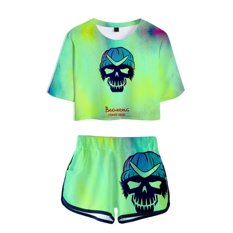 10 Styles Women Suicide Squad Tracksuit Cosplay Costumes Casual Top T-shirt Shorts Sets Summer Outfits