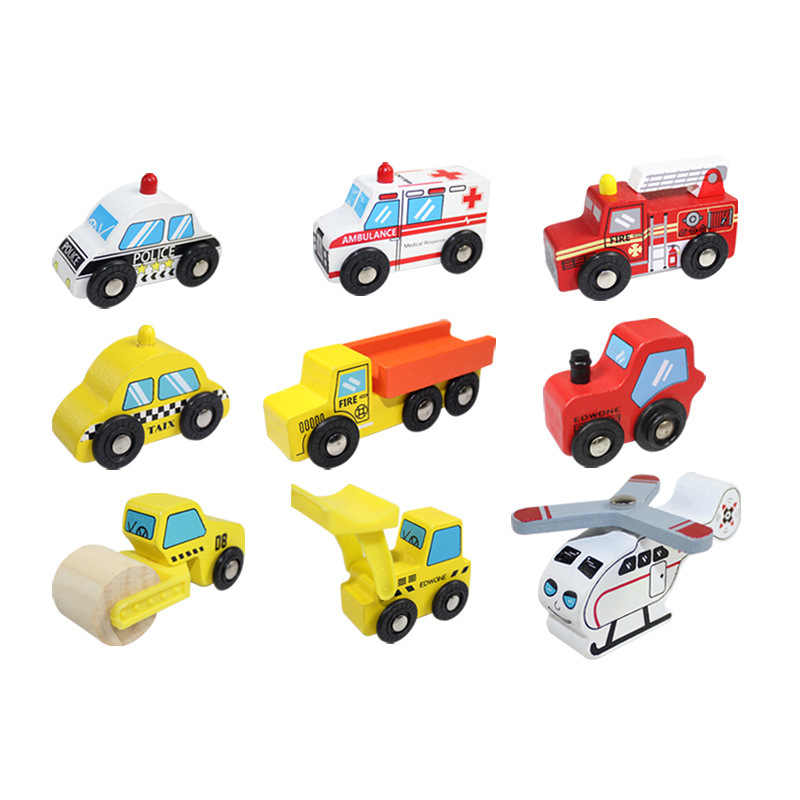 wooden engineering car series for BRIO track toy wooden track train scene toy car children's wooden toys variety optional