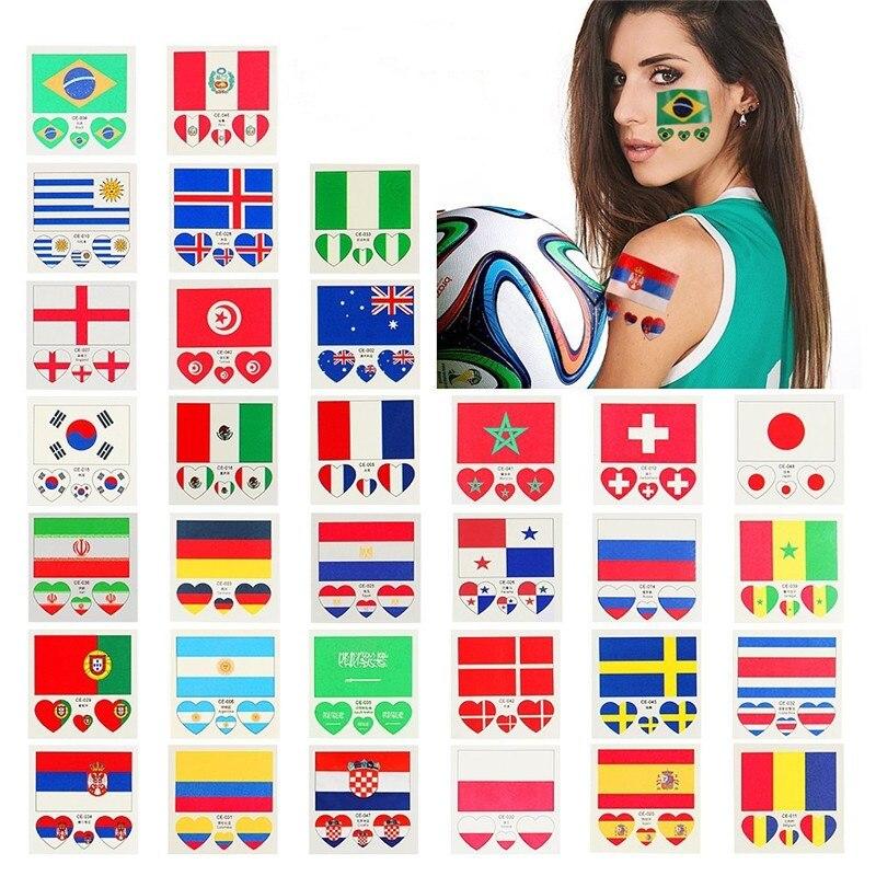 10pcs/ Lot Flag Tattoo Stickers Russia 2018 Football World Cup Waterproof DIY Body Temporary Sticker Tattoo For Soccer Fan Club