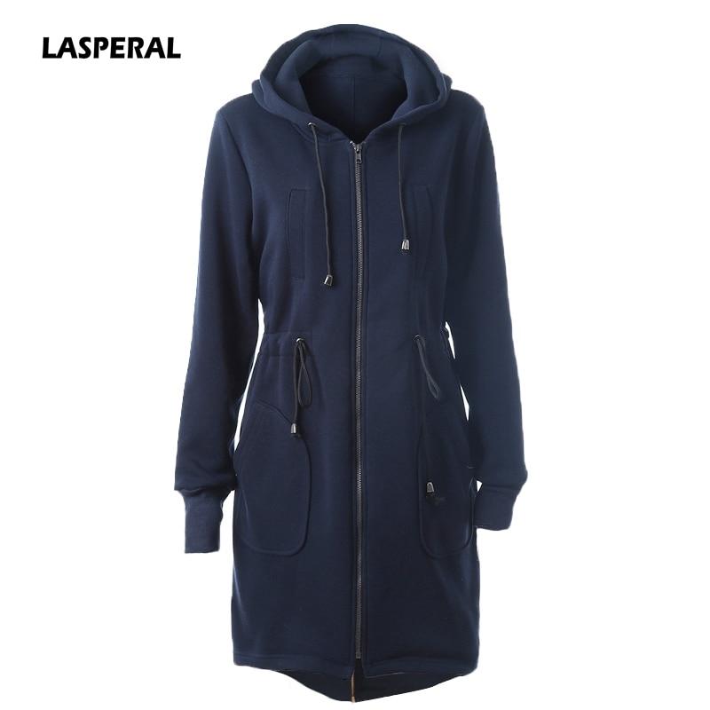 LASPERAL 2017 New Oversized Women Hoodies Overcoat Winter Warm Fleece Autumn Coat Zip Up Outerwear Hooded Sweatshirt Long Jacket