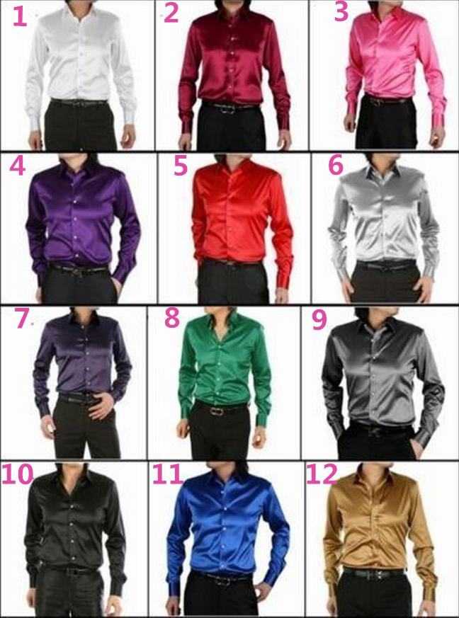 1-0 Mens Dress Shirt Custom Casual Suits Silk Satin Long sleeve Casual shirts Stylish Groom Shirts