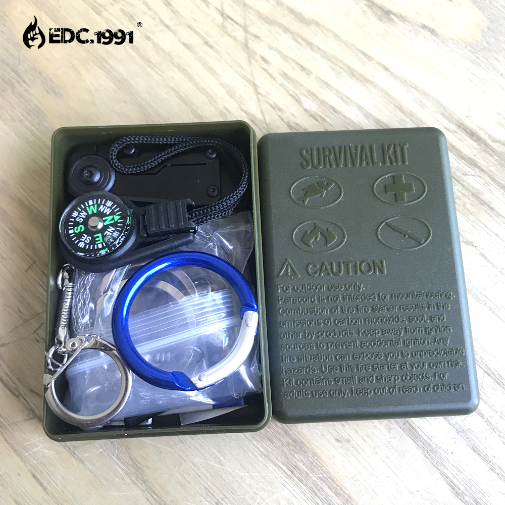 EDC.1991 10 in 1 survival kit Set Outdoor Camping Travel Multifunction First aid SOS EDC Emergency Supplies Tactical 10 in 1 emergency survival gear professional first aid kit outdoor camping hiking survival tools whistle flashlight tactical pen