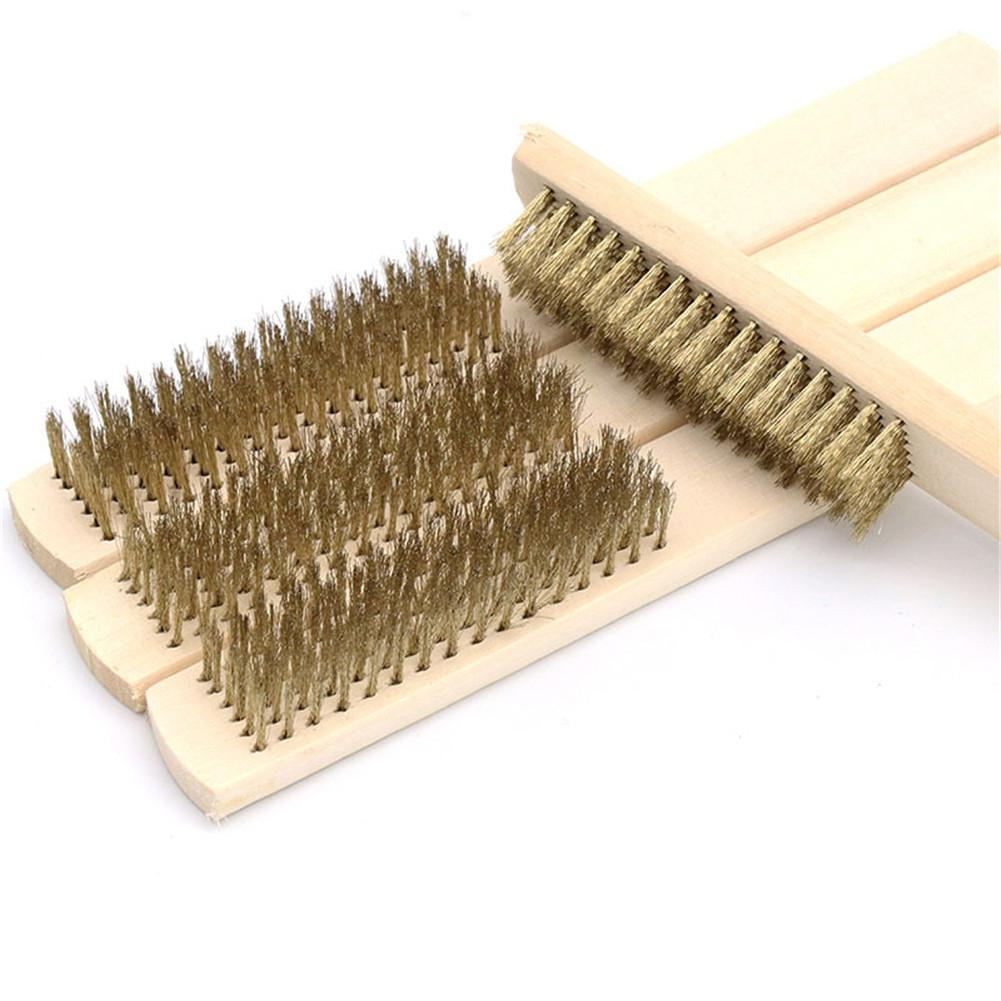200*25mm Row Beech Wood Handle Brass Wire Brush Copper Brush For Industrial Devices Surface/Inner Polishing Grinding Cleaning