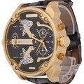 Venta caliente Grande Caso Reloj de Los Hombres de Camuflaje Estilo Militar Deporte Relojes Correa de Cuero de Cuarzo de Los Hombres Relogio Masculino masculino Reloj