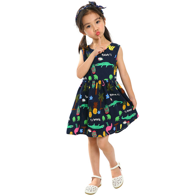 Fashion Summer Cotton Cherry Bow Decor Princess Dress Floral Vest Dresses for Girls