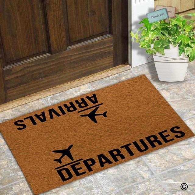 Doormat Entrance Floor Mat Funny Arrivals Departures Door Decorative Indoor Outdoor Non