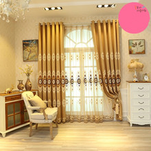 Home Garden - Home Textile - 1 PC Europe Style Curtains Luxury Embroidered Curtains     Living Room Embroidered Voile Curtain Bedroom Window Curtain