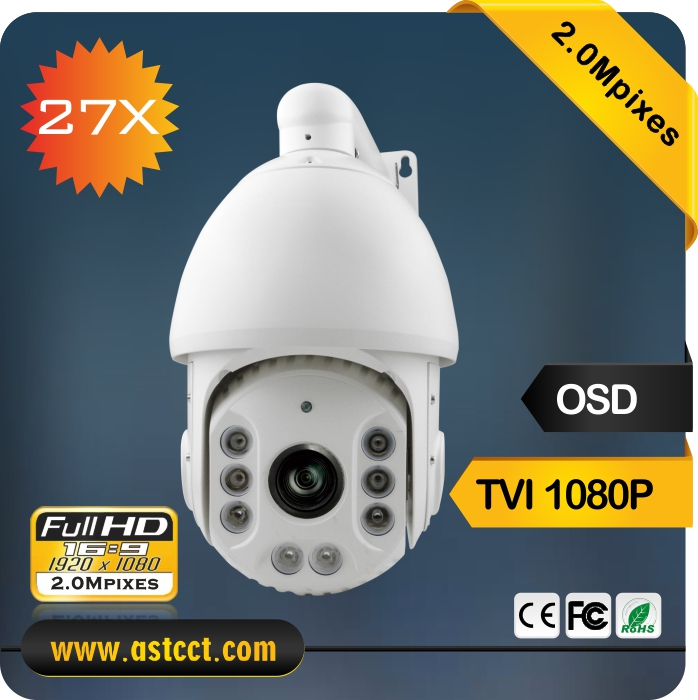 2016 Security 27X Zoom TVI PTZ Camera 2MP IR High Speed Dome Camera Sony Sensor TVI PTZ Camera Support Coaxial Cable Control best 7 sony 36x zoom700tvl analog ir high speed dome security ptz camera high speed dome video camera