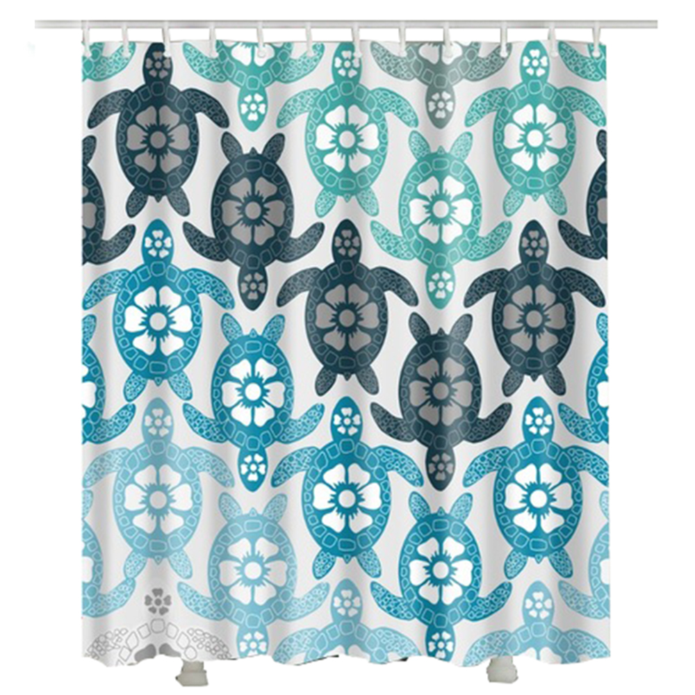 turtle shower curtain 2017 home decor new arrival flower polyester fabric bathroom curtains