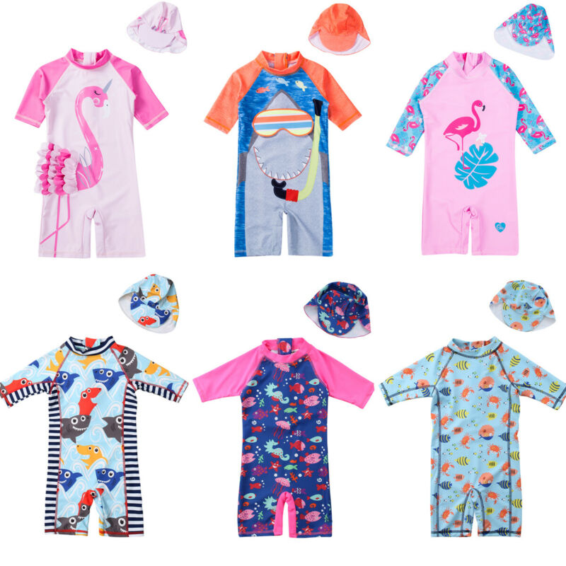 5 Styles Toddler Kids Baby Boys Girls Cute One-Piece Swimming Suits Lovely Pattern Sun Protective Surf Beach Swimwear with Cap(China)