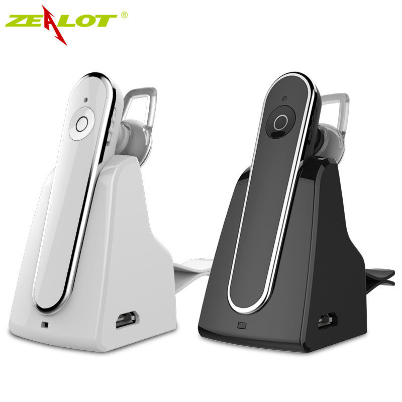 Zealot E5 Wireless Bluetooth Headset Handsfree Earphone with Microphone For MP3 Music Play Auto Hands Free Car Kit with Dock airersi k6 business bluetooth headset smart car call wireless earphone with microphone hands free and headphones storage box