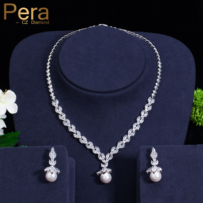 Pera Elegant Women Pearl Jewelry Set For Party Gift Big Leaf Shape Cubic Zirconia Long Dangle Necklace And Earrings J233 a suit of vintage flower leaf necklace and earrings for women