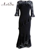 ArtSu Sexy Party Midi Dress Gothic Vintage Women Autumn Mermaid Lace Patchwork Half Sleeve Dresses Vestido
