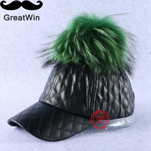High quality genuine animal raccoon pompom winter hats for women woman girl peridot green ball luxury baseball cap thermal gorra