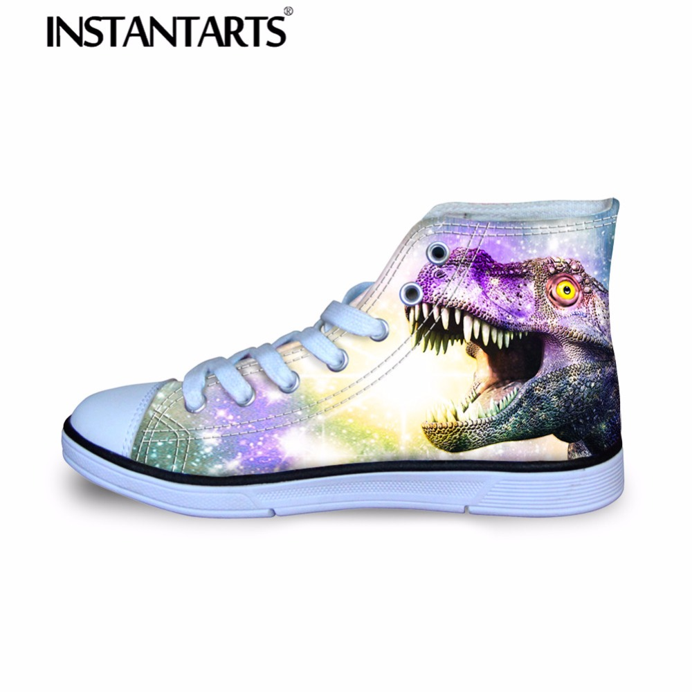 INSTANTARTS Boy Girl High Top Canvas Shoes Children Breathable Lace Up Flats Shoes 3D Cool Animal Dinosaur Print Kids Sneakers
