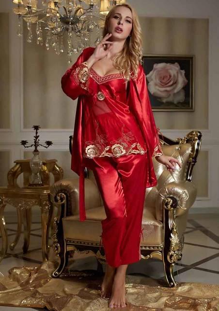 35203b17cb7 Women s plus size Sexy sleepwear faux silk nightgown Free shipping ...