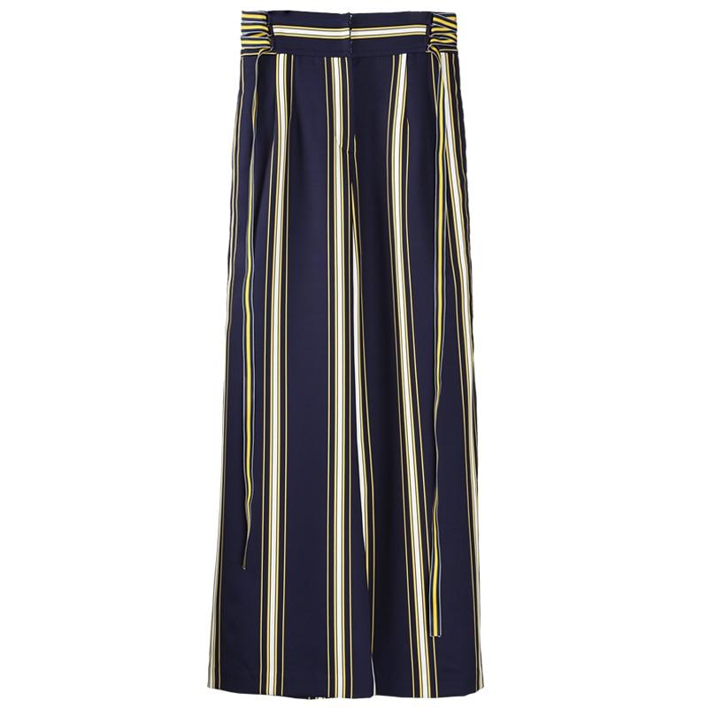 Pantalones Rectos De Alta A Mujeres Blue Verano Rayas Navy Primavera Calidad Otoño Casual Ancha Las Pierna 8rq8S5