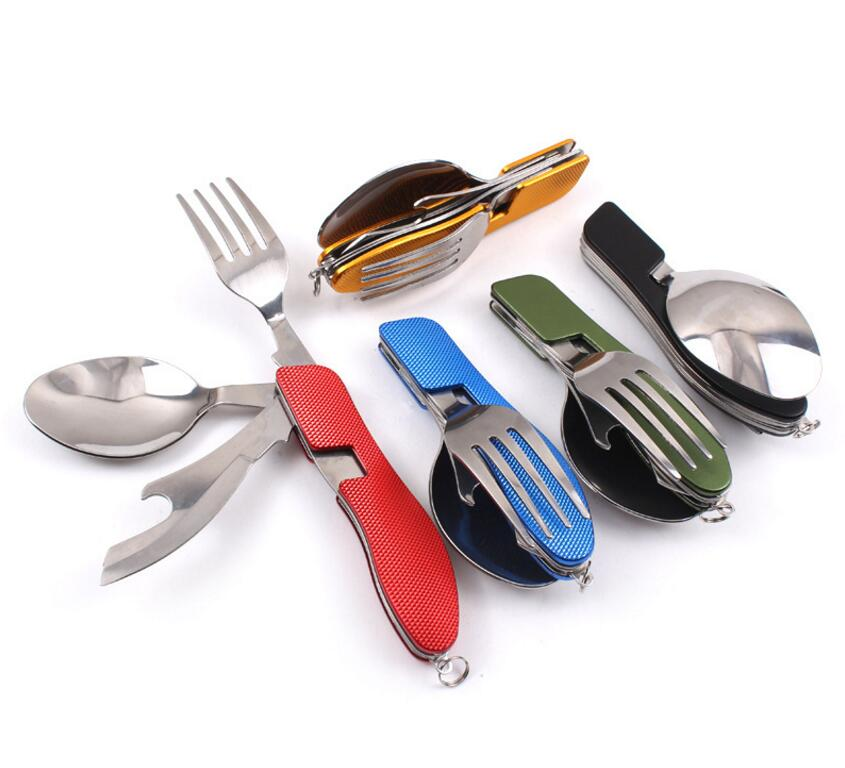 Multi-function Outdoor Camping Picnic Tableware Stainless Steel 4 in 1 Folding Spoon Fork Knife&Bottle Opener set cookware set multi function stainless steel can bottle opener silver