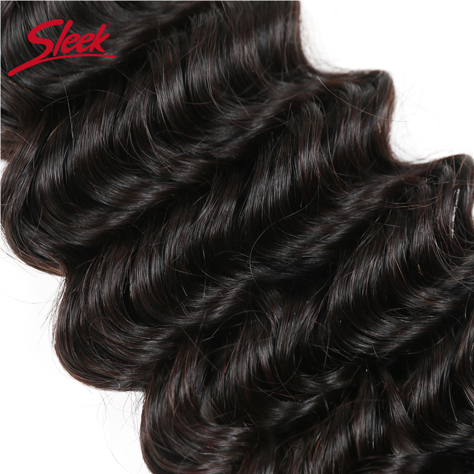 Image 5 - Sleek Brazilian Deep Wave Bundles Hair 10 To 28 Inch Extension Human Hair Bundles Can Buy 3 Or 4 Bundles None Remy HairHair Weaves   -
