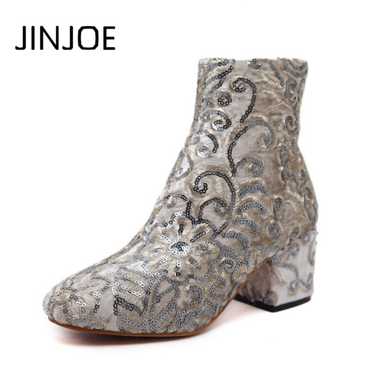 Winter Newest Hot boots Woman Vogue Europe style boots Embroidery coarse heel Women's shoes Sequin Ankle boots Tassels cloth