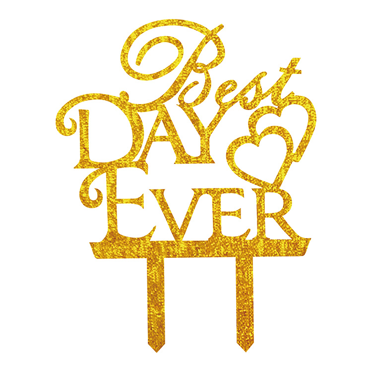 Best Day Ever Love Heart Wedding Cake Flags Black White Gold Silver Acrylic Cake Topper Wedding Anniversary Party Cake Decor-0