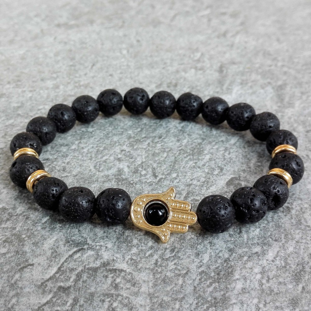 Nature 8mm Black Lava Energy Stone Beads Bracelet Gold Color Hamsa Hand Charm Yoga Mala Bracelets In Strand From Jewelry Accessories On