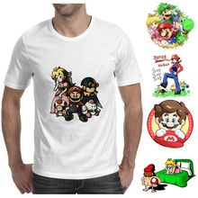 цена на Games Super Mario Mushroom Cartoon Casual Modal Men's Top White T-shirt Short Sleeve A193161
