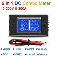 Medidor combinado de CC 9 en 1, Monitor de batería, capacidad de corriente de voltaje, resistencia interna/SOC/tiempo/probador de impedancia, volt amp