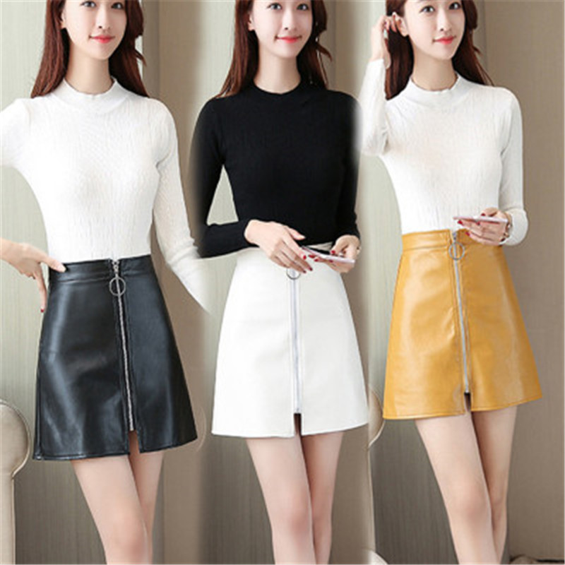 iMucci Spring Summer Casual PU Leather Skirt Women Elegant Zipper Mini A-Line Skirt Lady Skinny High Waist Skirts Black