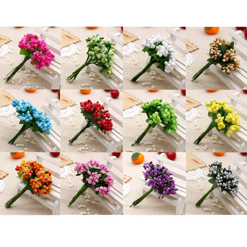 12Pcs Mini Artificial Pip Berries Stem Bunch Foam Fruit Flower Stamens For DIY Craft Wreaths Garland Wedding Box Decoration Gift
